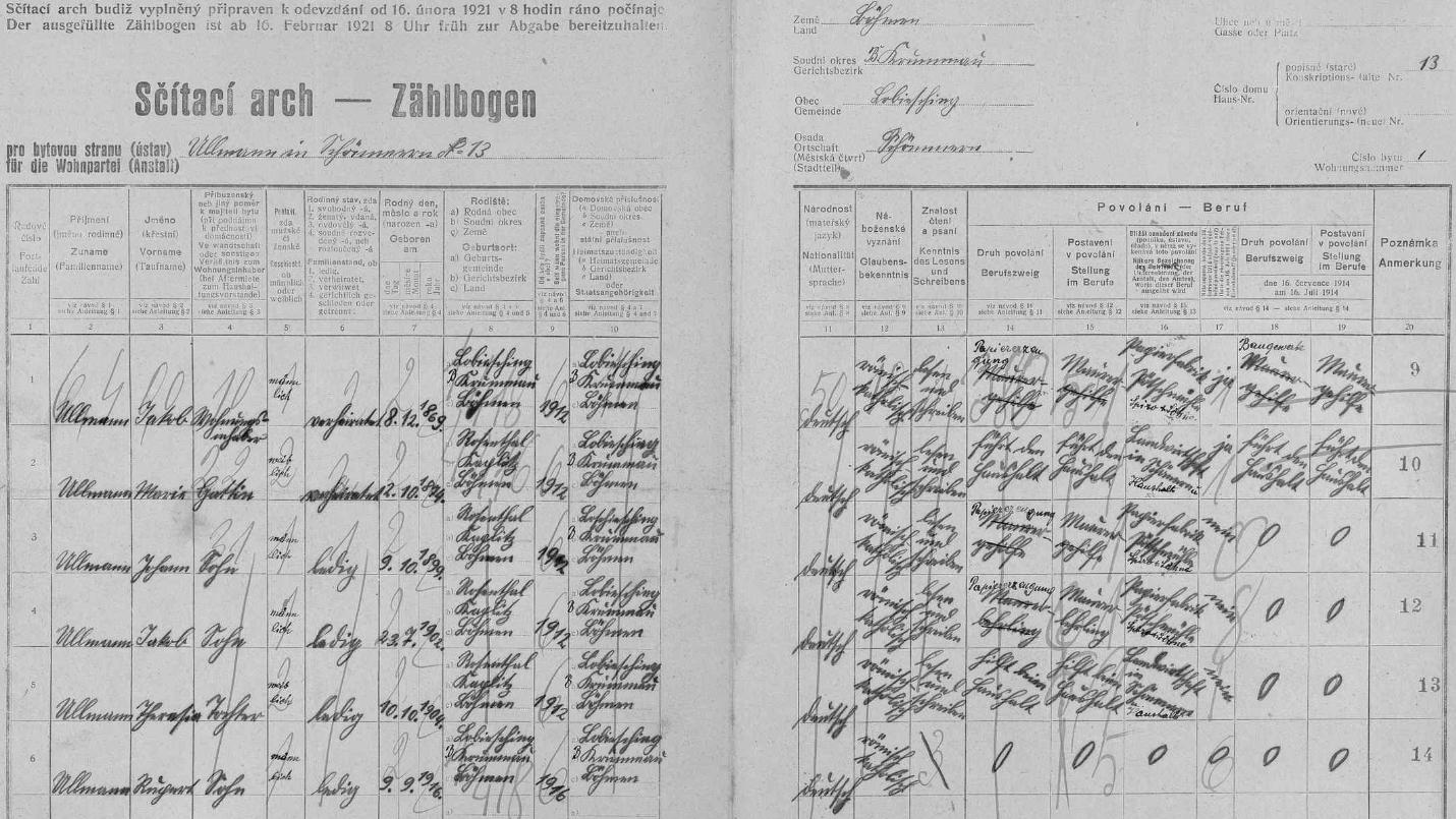 Arch sčítání lidu z roku 1921 pro stavení čp. 13 v někdejších Všeměrech s tehdejšími příslušníky rodiny Ullmannovy