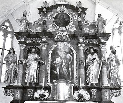 """Oltář s obrazem sv. Jana Křtitele """"bez roušky"""""""