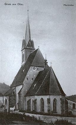 Kostel Stětí sv. Jana Křtitele v Zátoni nastaré pohlednici