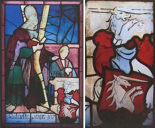 Celek a detail vitráže s bílým jednorožcem z erbu donátora Silvestera Pergera, klečícího nad ním při svém jméně aletopočtu 1517 (stojící postava je sv. Ondřej), na snímku Romana Lavičky, pořízeném v roce 2008 při průzkumu kostele v Zátoni