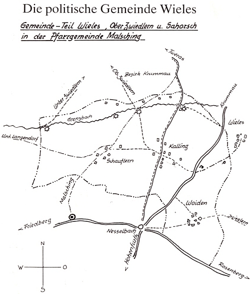 Poloha rodného Vojtína v někdejší politické obci Běleň (viz i Josef Ullmann)
