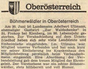 Zpráva rakouského krajanského listu o úmrtí loučovického (svatoprokopského) hostinského Ullmanna