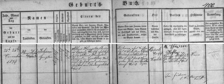 Záznam křestní matriky farní obce Rychnov nad Malší o narození otcově v Tiché čp. 99