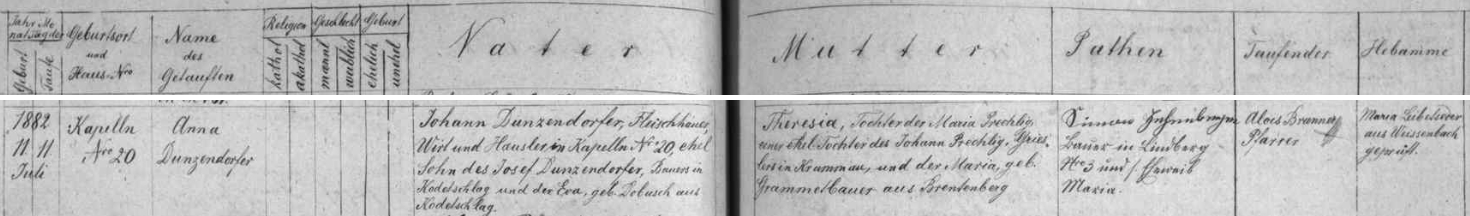 Záznam křestní matriky farní obce Kapličky o narození matčině