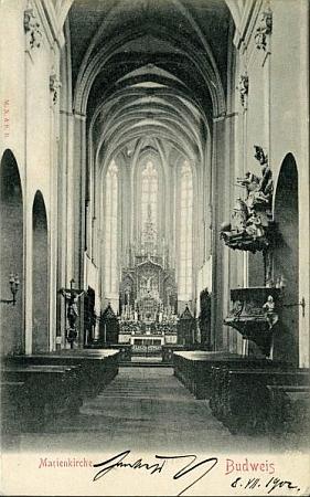 Interiér kostela Obětování Panny Marie vČeských Budějovicích, kde skonal, na pohlednici z přelomu 19. a 20. století...