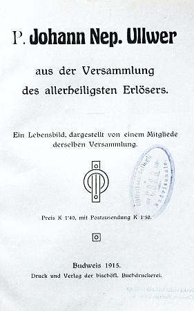 Titulní listy (1915) německého a českého vydání knihy o něm