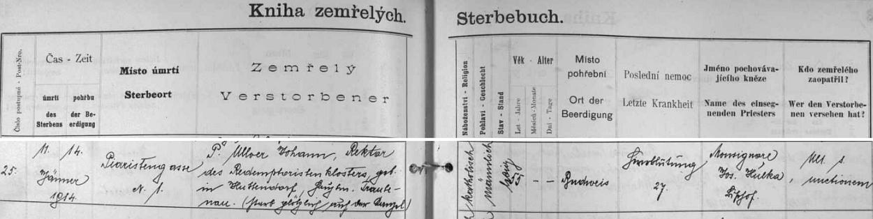 I německý záznam českobudějovické úmrtní matriky o jeho náhlém skonu provází poznámka, že se tak stalo na kazatelně