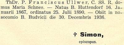 Zpráva o úmrtí Franze Ullwera v diecézním listu českobudějovického biskupství