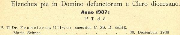Záznam o úmrtí ThDr. Franze Ullwera v katalogu diecéze pro rok 1938