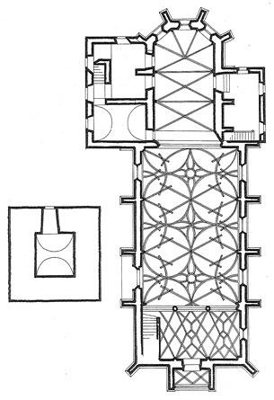 Půdorys farního kostela v Haslachu z jeho článku