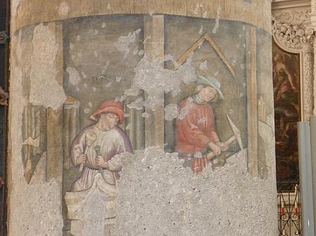 Kameníci na fresce františkánského kostela v Salzburgu