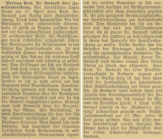Referát o jeho rodopisné přednášce v Českých Budějovicích dne 25. dubna 1938