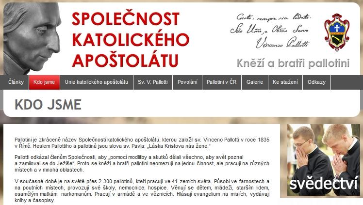 """Záhlaví """"pallotinských"""" webových stránek"""