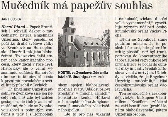 Zvonková se díky jeho prohlášení za mučedníka papežem Františkem I., umožňujícím Unzeitigovo blahořečení, stane poutním místem