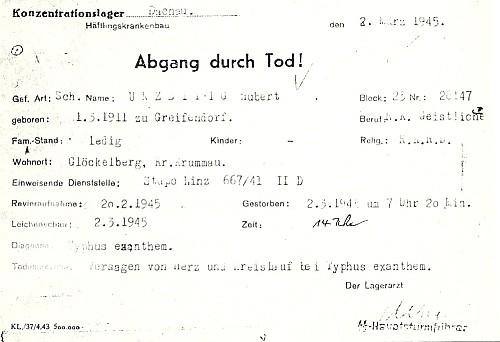 """""""Todeszettel"""" (oznámení úmrtí v koncentračním táboře)"""