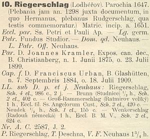 Záznam v diecézním katalogu na rok 1915, kdy konal duchovní službu v Lodhéřově s Johannem Kramlerem