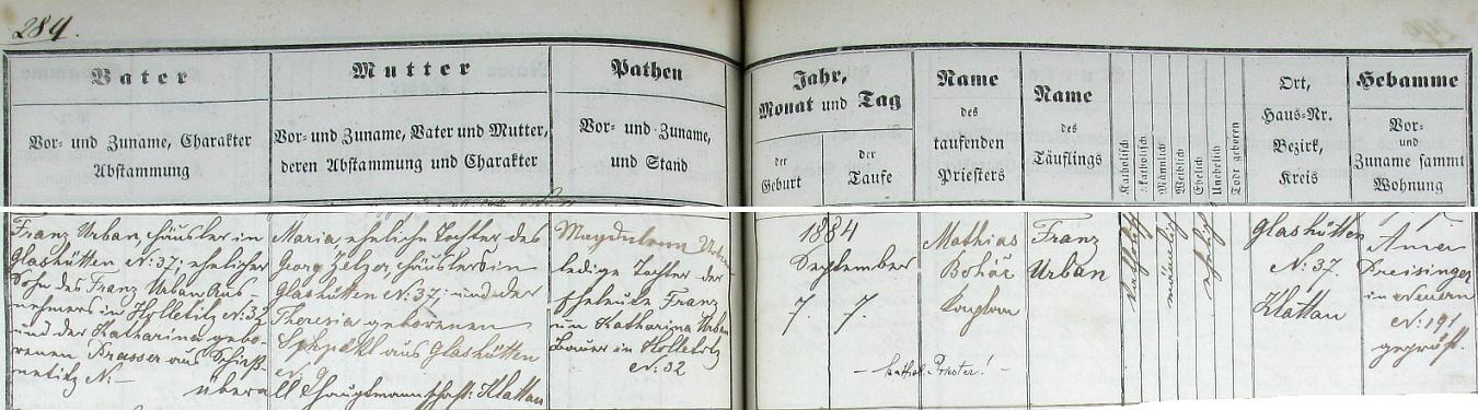 Záznam křestní matriky o jeho narození ve Skelné Huti a nýrském křtu kaplanem Mathiasem Boháčem - otec novorozence Franz Urban, chalupník ve Skelné Huti čp. 37, rodném stavení chlapcově, byl synem výměnkáře Franze Urbana z Hodousic (Holletitz) čp. 32 a Kathariny, roz. Prasserové ze Žíznětic (Schießnetitz), novorozencova matka Maria byla pak dcerou chalupníka ve Skelné Huti čp. 37 Georga Zelzera a Theresie, roz. Späklové rovněž ze Skelné Huti