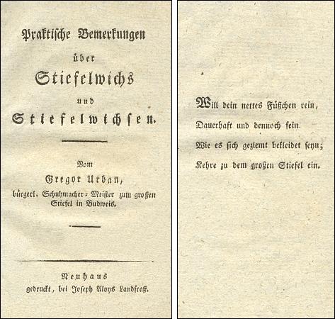 Titulní list (1818) jeho knihy o leštidle na boty a proslulé čtyřverší na následném listě