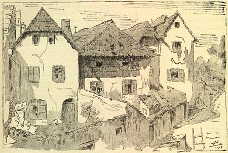 Tak vyhlížely domy v sousedství toho jeho v Kněžské ulici, stržené pro svou sešlost roku 1929 a zachycené zde na kresbě Friedricha Blumentritta při pohledu z Hradební ulice