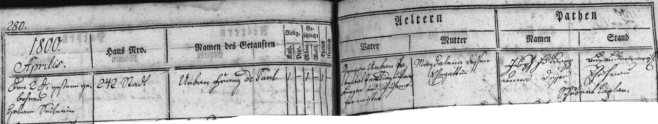"""Při narození syna Franze v dubnu roku 1800 je Gregor Urban psán už nejen jako """"patentální invalida"""", nýbrž i jako """"měšťan a mistr obuvnický"""", stále ještě v čp. 242"""