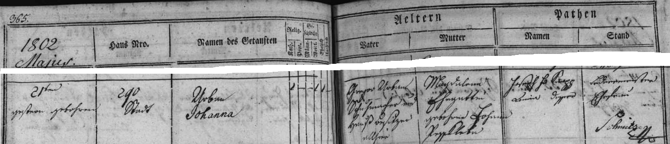 Narození dcery Johanny přivítal Gregor Urban podle záznamu křestní matriky nejen jako obuvník, ale i jako majitel domu čp. 290 v Kněžské ulici; také se dovídáme rodné příjmení jeho ženy Magdaleny, jejímž otcem byl Johann Besskleba (zde psáno Pesskleba)