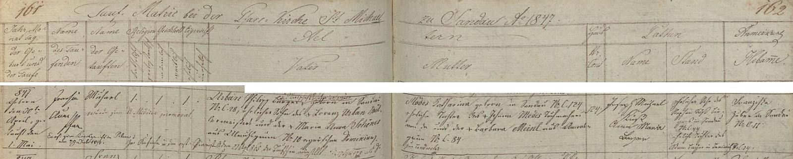 Záznam o jeho narození v křestní matrice farní obce Dolní Žandov