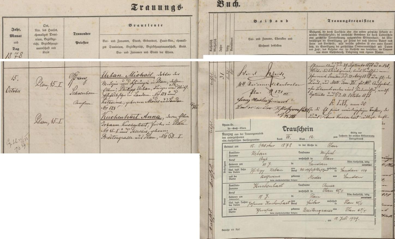 Záznam o jeho svatbě v Plané roku 1878 i s oddacím listem