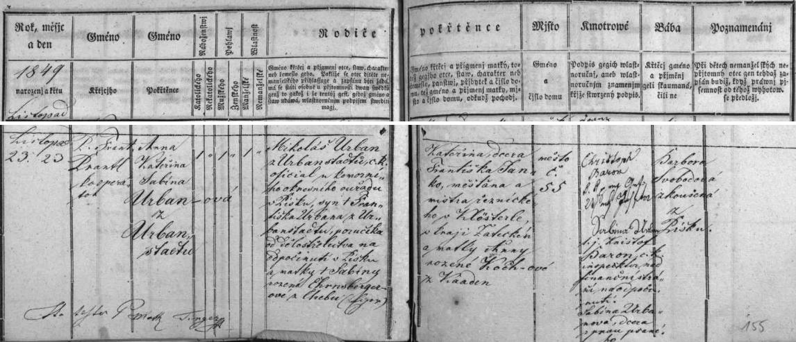 Tři česky psané záznamy písecké křestní matriky o narození jeho synů Petra (1844) a Fridricha Františka Josefa Lazara (1846), jakož i dcery Anny Kateřiny Sabiny (1849)
