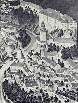 Krumlovský zámek s Latránem na černobílé reprodukci malby Fritze Schmelzera