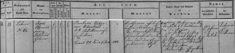 Dva německy psané záznamy českokrumlovské křestní matriky o narození jeho synů Franze (1840) a Karla (1842)