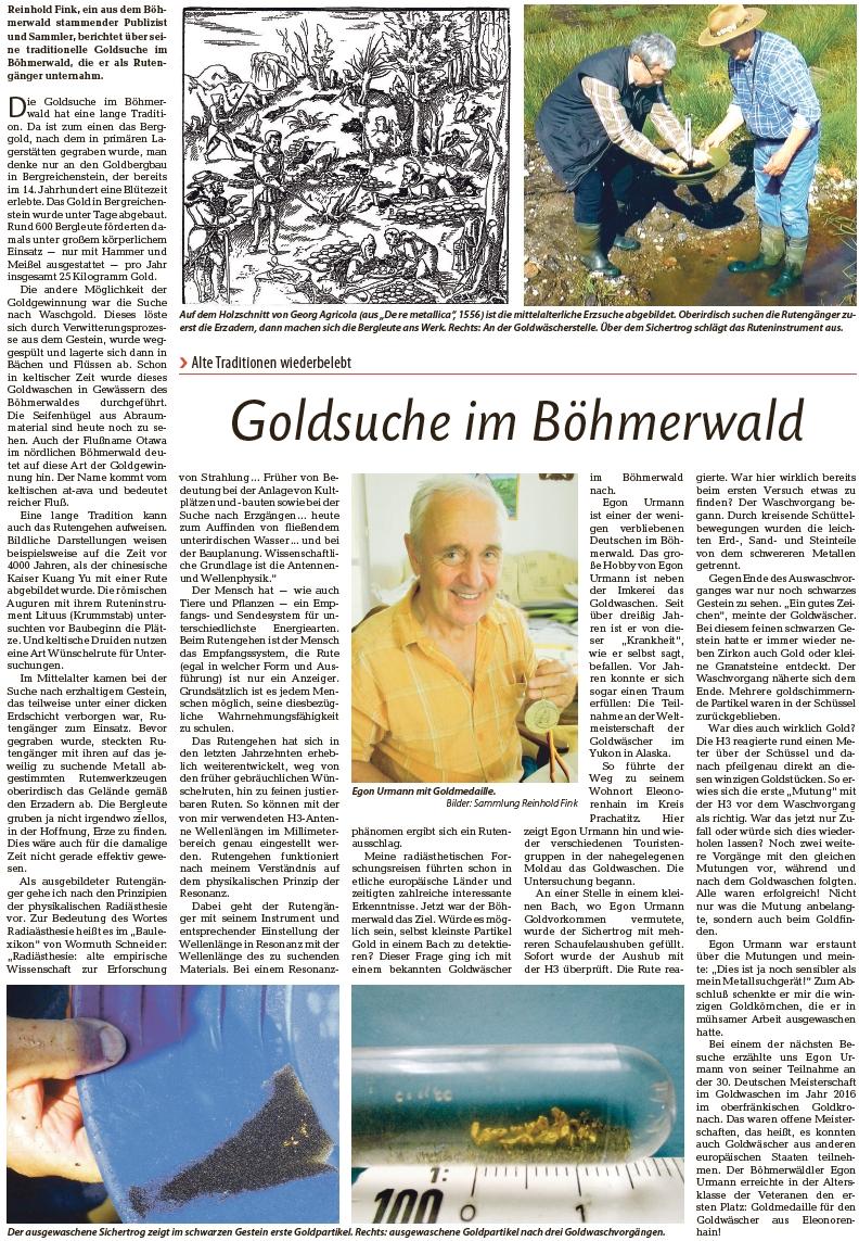 Článek Reinholda Finka o jeho zkušenostech s rýžováním zlata