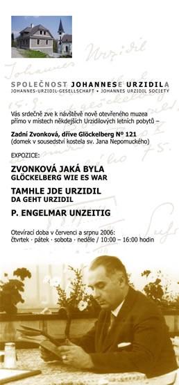 Plakát muzea ve Zvonkové a viněta Společnosti Johannese Urzidila, která je provozuje