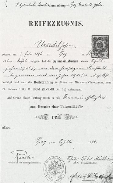Na maturitním vysvědčení z roku 1914 je psáno jeho jméno Uržidil a vidíme dole i podpis filologa Aloise Rzacha, který byl tchánem Augusta Sauera, jako předsedy zkušební komise