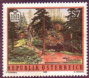 Rakouská poštovní známka s motivem Sting(e)lfelsen (1999)