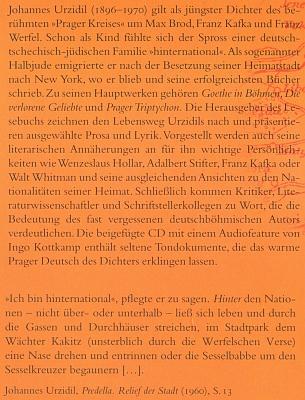 Obálka (2010) čítanky z jeho díla, kterou v říjnu 2011 prezentovalo v Jihočeské vědecké knihovně Německé kulturní fórum střední a východní Evropy (Deutsches Kulturforum Östliches Europa), vydavatel knihy...
