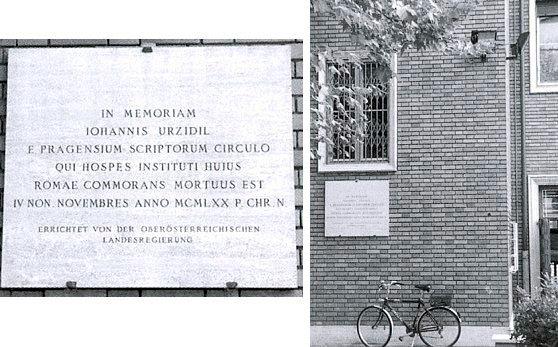 Pamětní deska na budově Rakouského kulturního institutu v Římě, odhalená v roce 1984