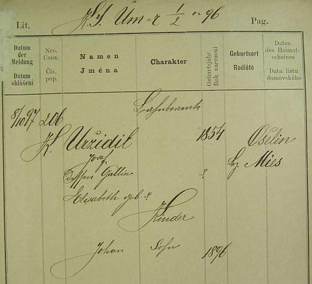"""Starší německy psaná policejní přihláška otcova (rovněž příjmení Uržidil) uvádí tu prvou jeho manželku Elisabeth (Elise) a """"Johana"""" jako jejich jediného syna"""