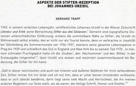 Prvé dva odstavce delší stati o Urzidilově recepci Stiftera očima Gerharda Trappa