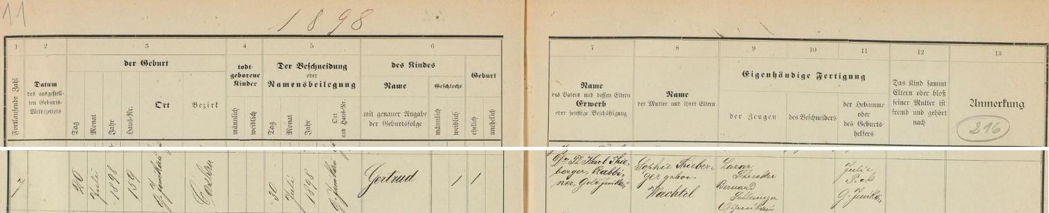 Podle tohoto záznamu v židovské matrice města Golčův Jeníkov se tu narodila dne 20. července roku 1898 v domě čp.159 a 30. července pak dostala jméno Gertrud - otcem dítěte byl zdejší rabín PhDr. Karl Thieberger, dívčinou matkou pak Sophie, roz. Wachtelová, kmotry dívčinými se stali Lazar Schrecker a Bernard Schlesinger z Golčova Jeníkova, porodní bábou byla Julie Picková také odtud