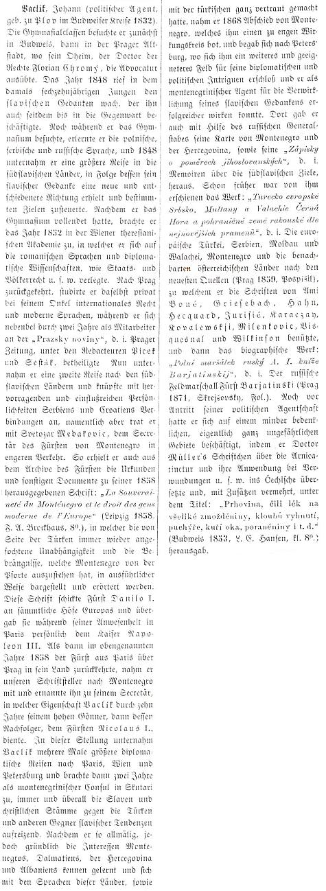 Obsáhlé heslo ve Wurzbachově lexikonu význačných rakouských osobností