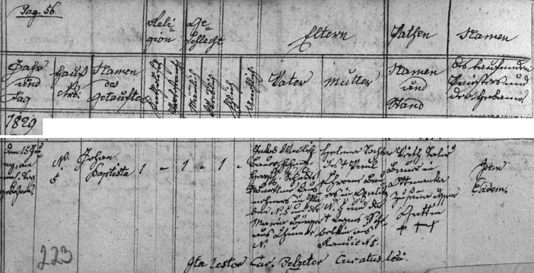 Záznam o jeho narození v doudlebské křestní matrice