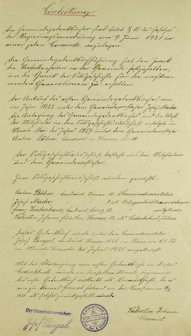 Úvodní stránka křenovské kroniky s jeho podpisem