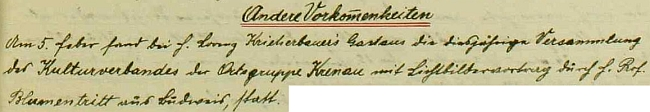 Dva zápisy v kronice, které se týkají dalších osobností zastoupených na stránkách Kohoutího kříže: přednáška Friedricha Blumentritta v únoru 1933 aprimice Aloise Kuschela v březnu 1934