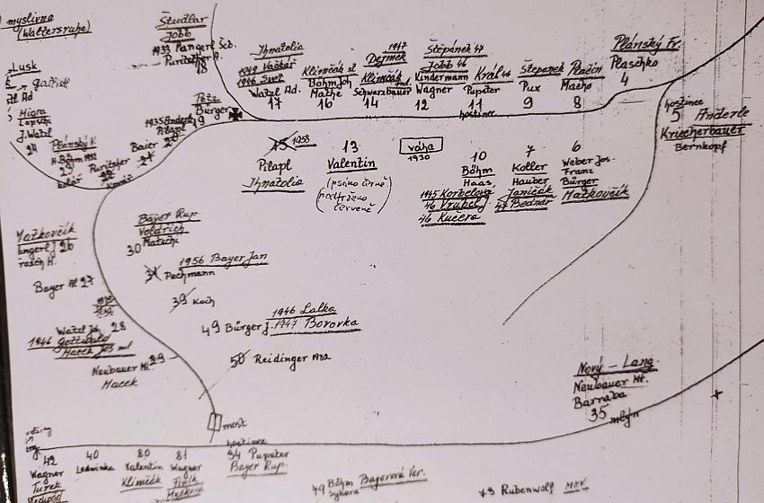 Tento plánek Křenova je součástí překladu kroniky, jehož autorem byl farář Straka - Valentinův dům čp. 13 je uprostřed, byl zbořen kolemroku1970 (viz i Ludwig Bürger)