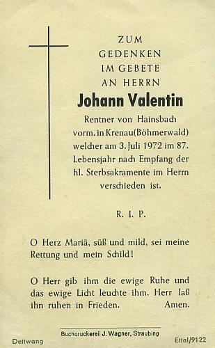 Zpráva o jeho skonu v německém regionálním tisku a úmrtní lístek