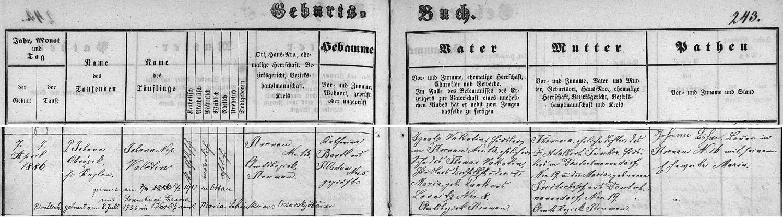 Záznam o jeho narození v kájovské křestní matrice s přípisy o jeho dvou svatbách
