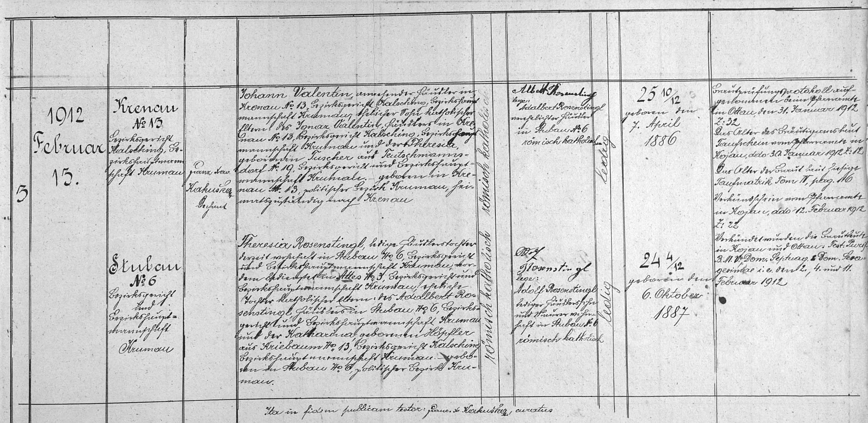 Záznam zátoňské oddací matriky o jeho první svatbě
