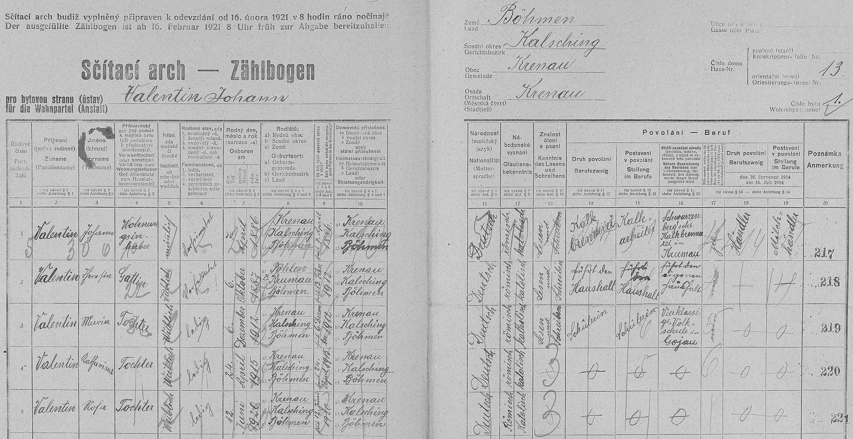 Arch sčítání lidu z roku 1921 pro stavení čp. 13 v Křenově s rodinou Valentinovou o třech dcerách