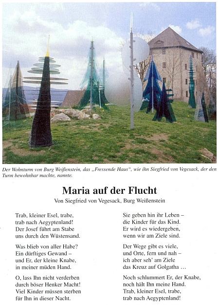 """Jeho báseň """"Maria na útěku"""" se snímkem obytné věže """"Fressendes Haus"""" při hradě Weissenstein"""