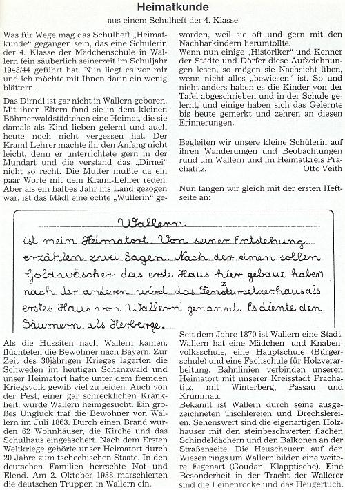 Jeho text s ukázkou ze školního sešitu jedné žákyně 4. třídy dívčí školy ve Volarech ze školního roku 1943/1944